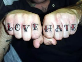 Love and Hate tattoo